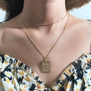 Jewelry - Rose Necklace Vintage Square Alloy Pendant